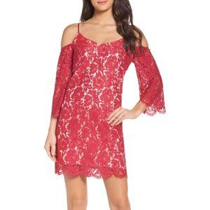 NWT Chelsea 28 Pink-Red Lace Cold Shoulder Dress L